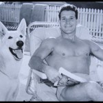 "Jack Lalanne and his famous German Shepard ""Happy"""